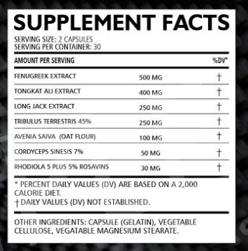 Testos X Supplement Facts