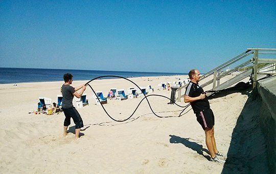 The beach is the perfect place for a nice training session