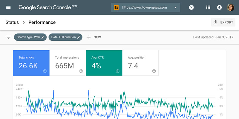 google webmasters tools search console example screenshot