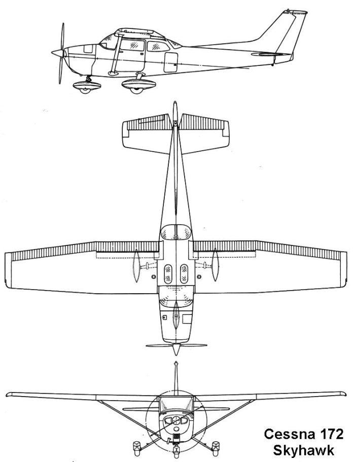 Cessna 172 - Maior exemplo de asa mista