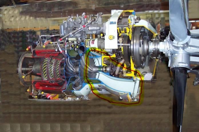 Motor turboélice real em corte.