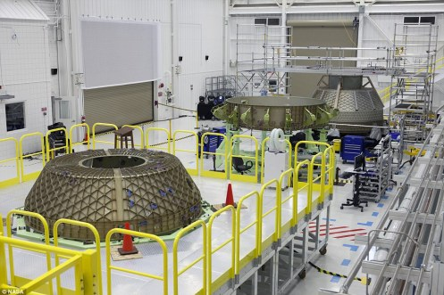 Boeing today opened a massive facility in Florida to develop its Apollo-star, spacecraft, which it has named 'Starliner'. In this image, parts of the spacecraft on test stands inside the Commercial Crew and Cargo Processing Facility, or C3PF, at Nasa's Kennedy Space Center in Florida. The test article will help in assembling and processing operational spacecraft inside the revitalised facility.