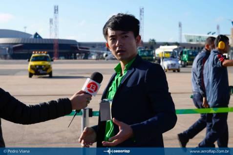 Equipe chinesa da CCTV realizando a cobertura do evento.