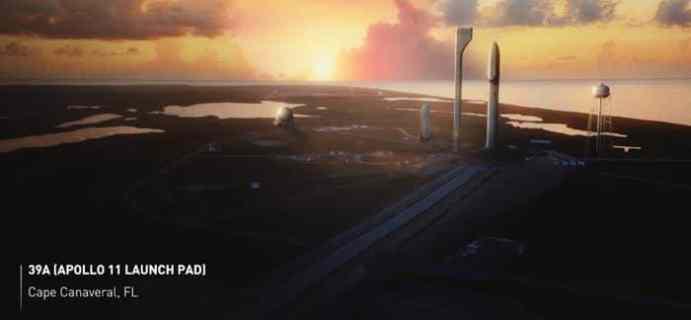Local de lançamento do ITS. Projeção - SpaceX