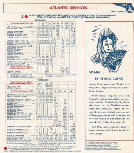 Lista de horários dos voos em 1948. Foto - JPB Transportation/Reprodução