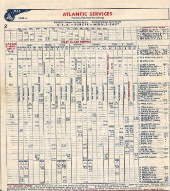 Lista de horários dos voos em 1954. Foto - JPB Transportation/Reprodução