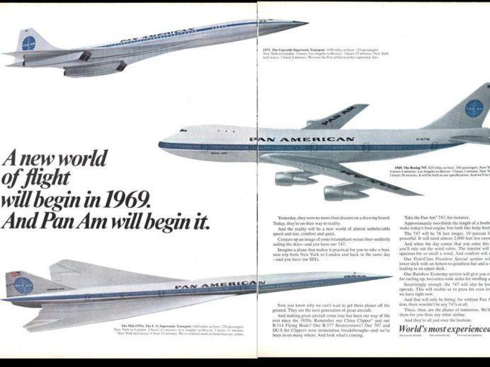 """Anúncio da Pan Am da década de 60, apresentando os """"aviões do futuro""""."""