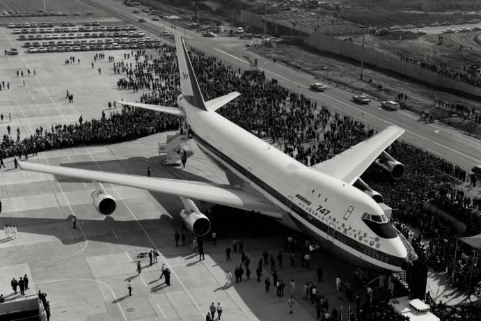 Protótipo do Boeing 747 presentado em 9 de fevereiro de 1969 na cidade de Everett