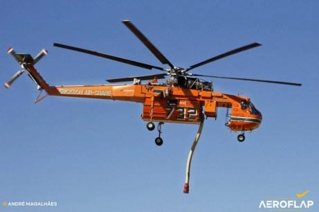 Helicóptero S-64F em exibição na FIDAE 2018
