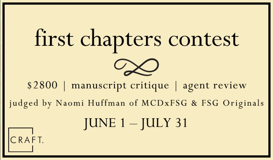 CRAFT First Chapters Contest: Entries Close 31 July