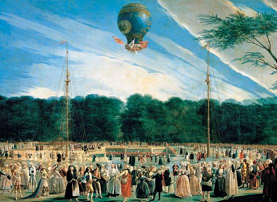 Ilustração da ascenção do balão dos irmãos Montgolfier.