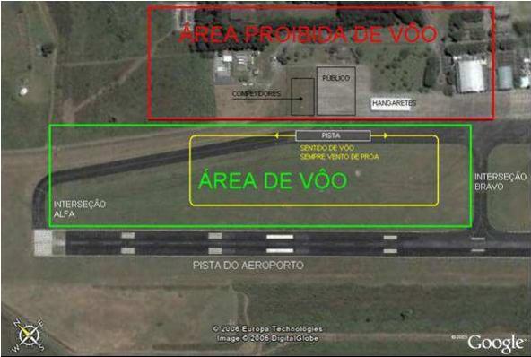 Vista superior da área da competição no Aeroporto de São José dos Campos.