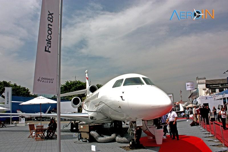 Dassault Falcon 8X foi o maior lançamento da feira.