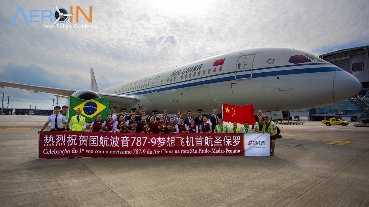 Air China celebra voo inaugural do Boeing 787-9 em São Paulo.