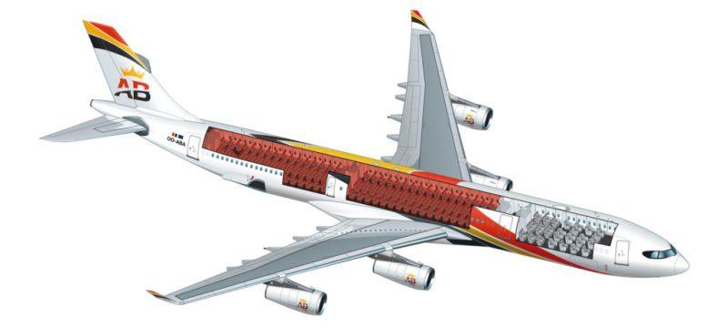 Configuração interna do Airbus A340 da Air Belgium