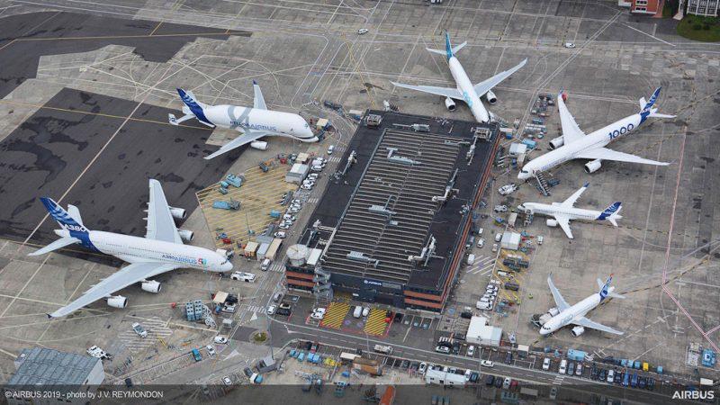 Frota aeronaves Airbus vista aérea