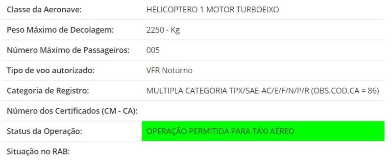 Consulta RAB ANAC Helicópetor