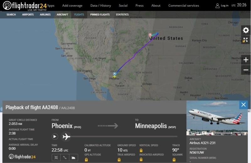 Baseado AA2408 voo emergência
