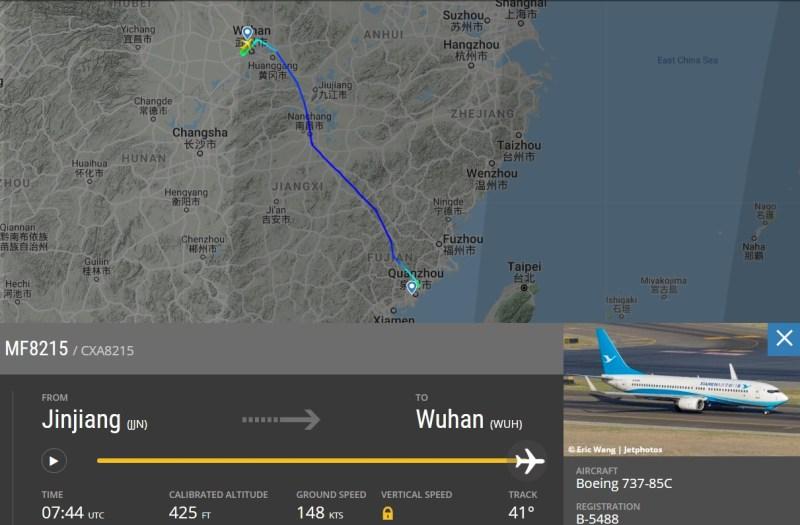 FlightRadar24 voo MF8215 Xiamen