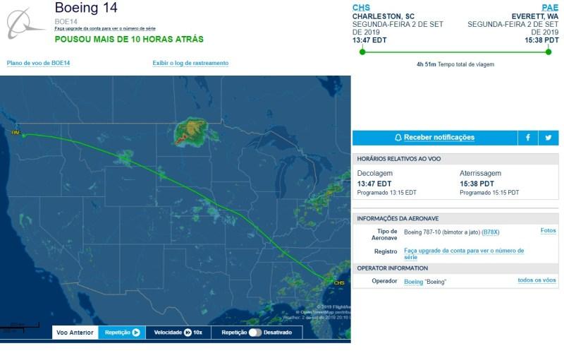 FlightAware KCHS KPAE Furacão Dorian