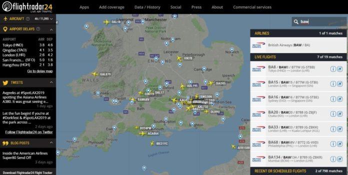 Print FlightRadar24 British Airways Greve