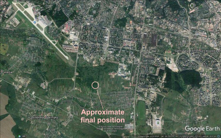 Acidente Antonov An-12 Lviv Ucrânia mapa posição