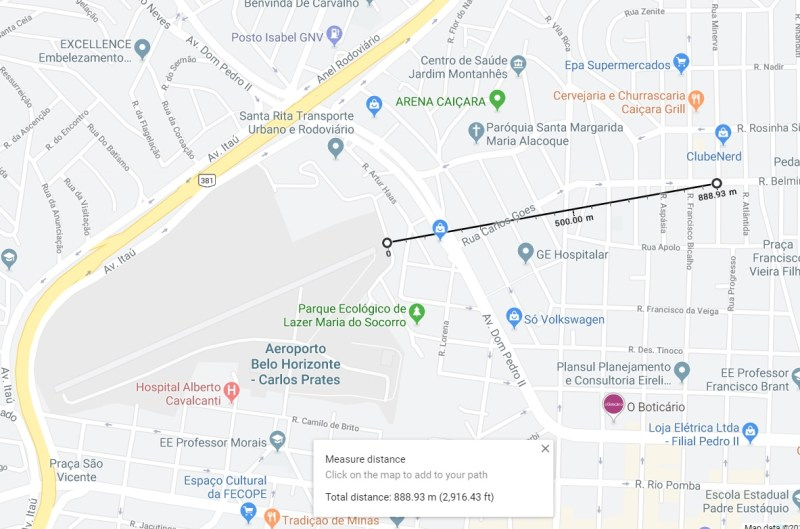 Acidente Cirrus SR 20 Carlos Prates Mapa