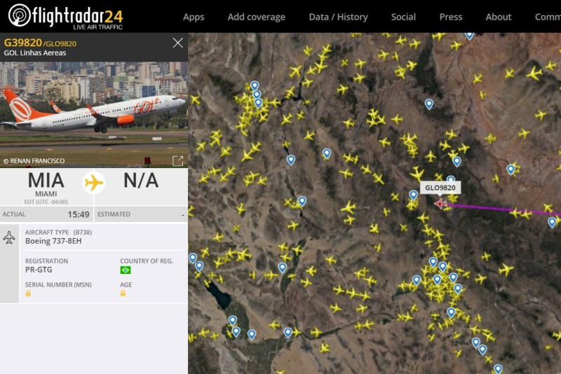 FlightRadar24 Gol9820 Voo 737NG Pickle Fork