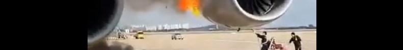 Vídeo Asiana A380 Fogo Motor Pátio Seul