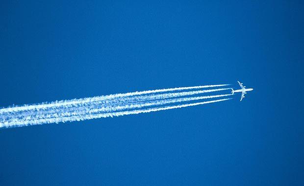 Avião Céu Azul Trilha Condensação Contrail