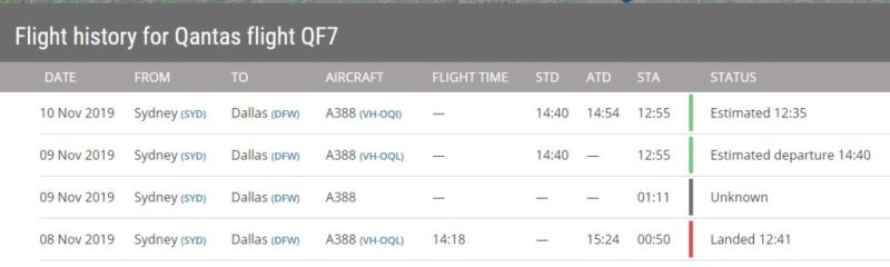Flight Radar 24 Voo QF7 191109