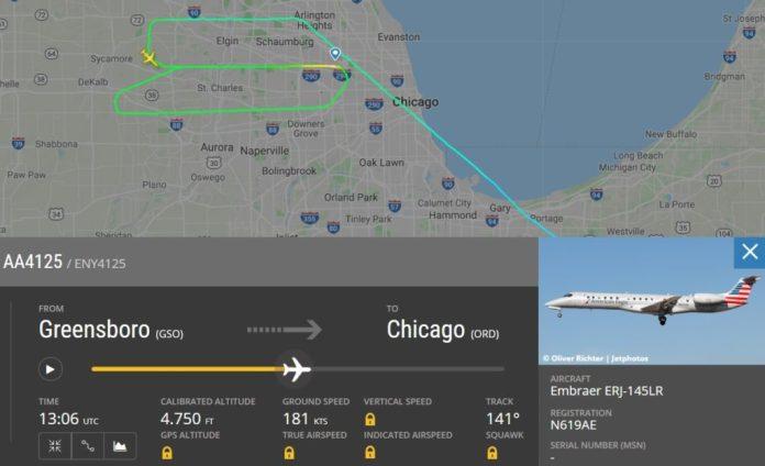 Radar Voo AA4125 Derrapagem Pouso Neve Chicago