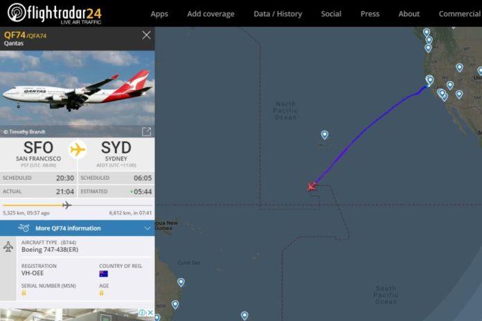Flight Radar 24 Qantas Último Voo 747 Estados Unidos