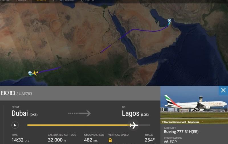Flight Radar 24 Voo EK783 Dubai Lagos