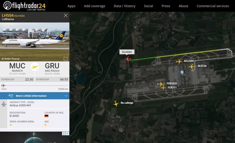 Flight Radar 24 Voo LH504 A350 Munique Guarulhos