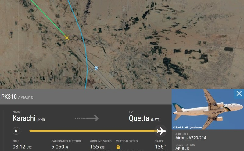 Flight Radar 24 Voo PK310 PIA A320 Gafanhotos