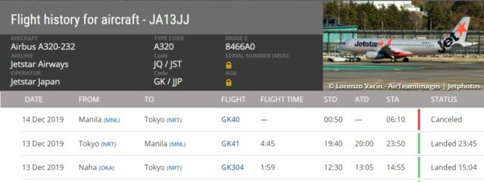 FlightRadar24 A320 JA13JJ Atolado Manila 191214