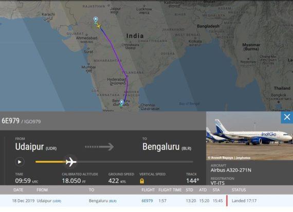 FlightRadar24 Voo 6E979 IndiGo Fumaça APU