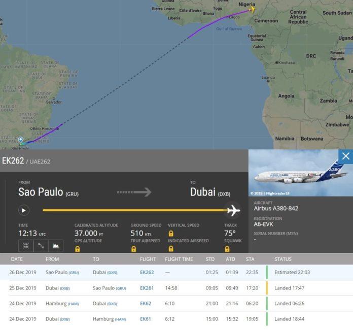 FlightRadar24 Voo EK262 A6-EVK A380 Novo