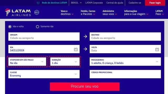 LATAM Stopover São Paulo Escolha Duração