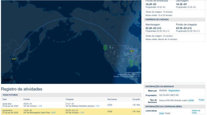 FlightAware Voo A350 Delta MSP ICN