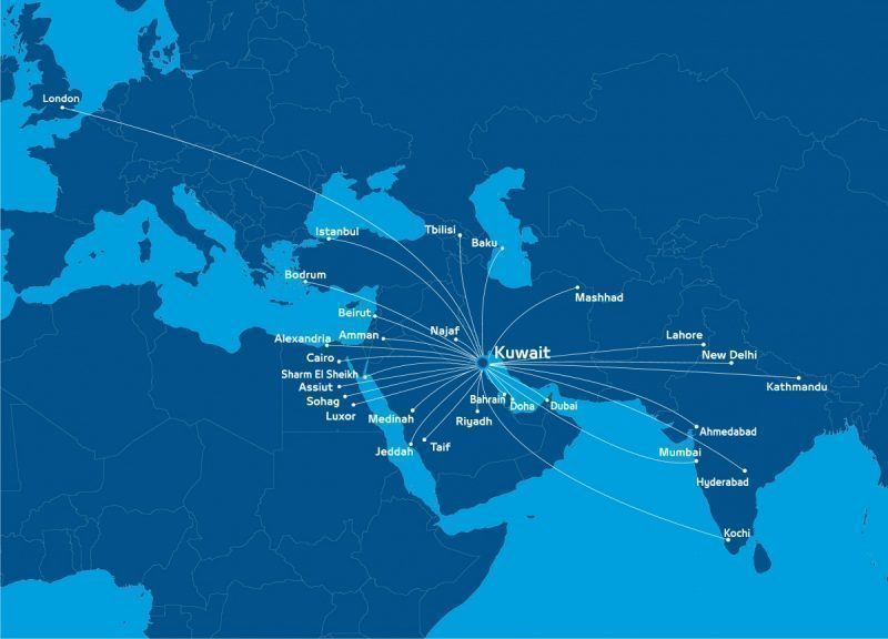 Jazeera Airways Routemap Mapa de Rotas