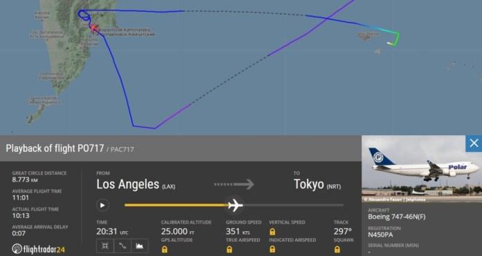 FlightRadar24 Voo Boeing 747 Polar Petropavlovsk