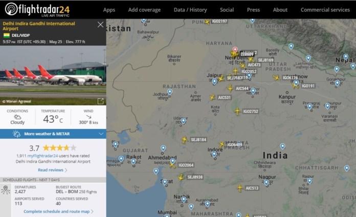 FlightRadar24 Voos India Nova Déli