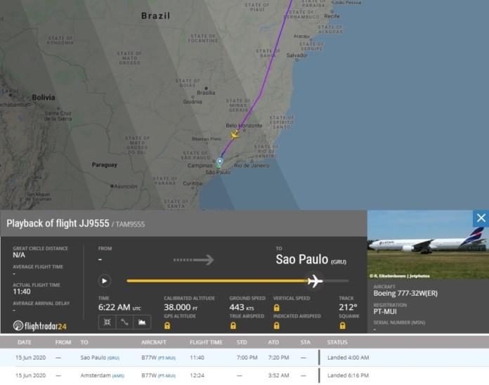 FlightRadar24 Voo 22 LATAM China Máscaras