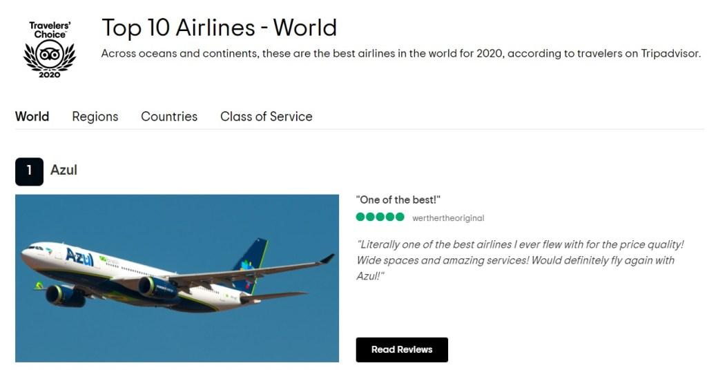 TripAdvisor Azul Melhor Companhia Aérea Mundo 2020