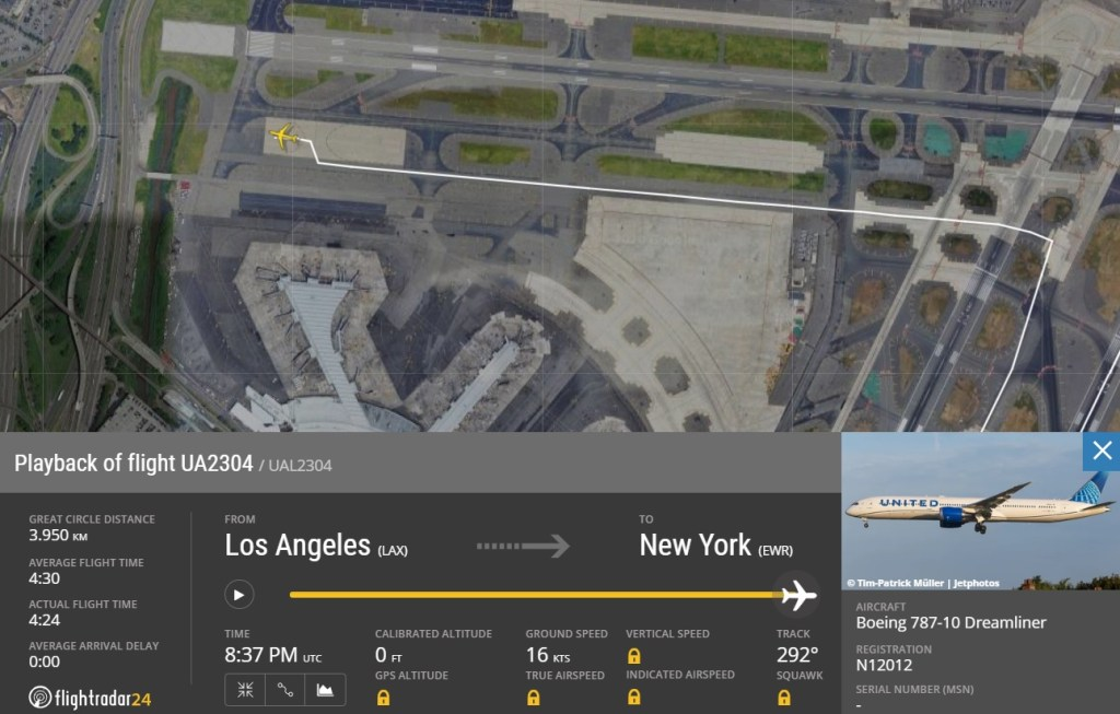 FlightRadar24 Voo United 787 Ameaça Bomba