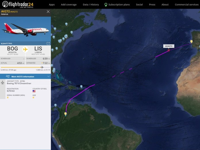 FlightRadar24 Voo Avianca Colômbia Lisboa