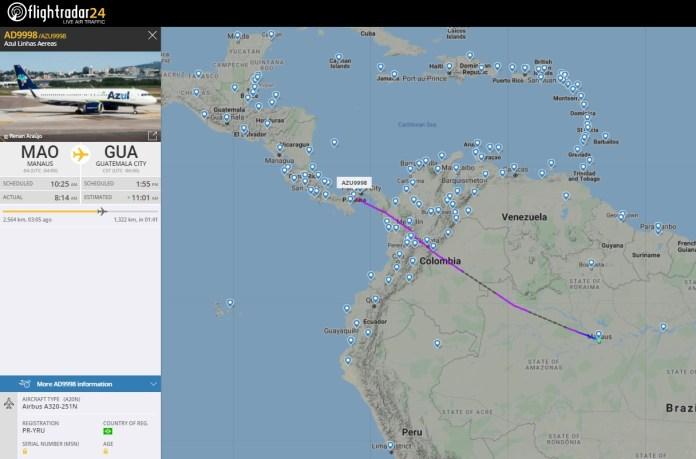 FlightRadar24 Voo Azul Guatemala City