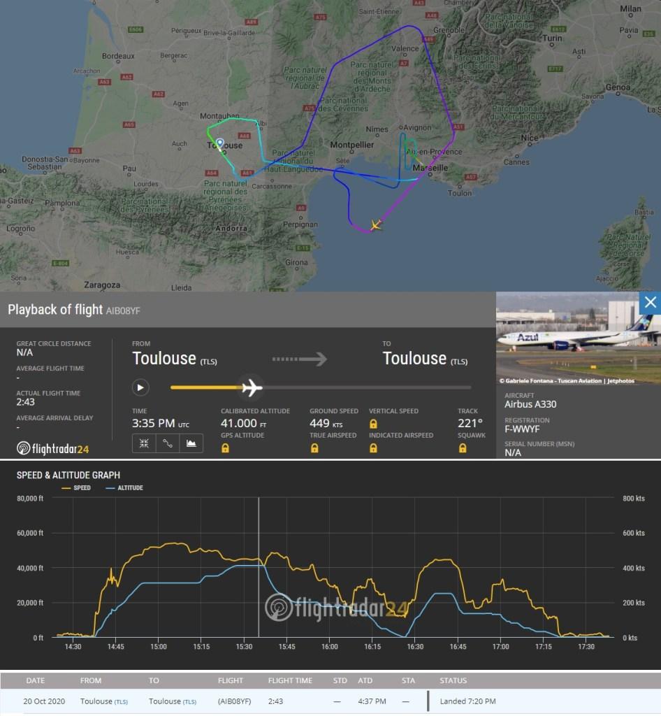 FlightRadar24 Voo Teste A330neo PR-ANW Azul